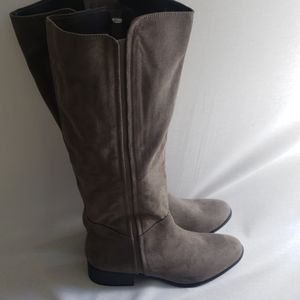 Gray textile upper riding boots